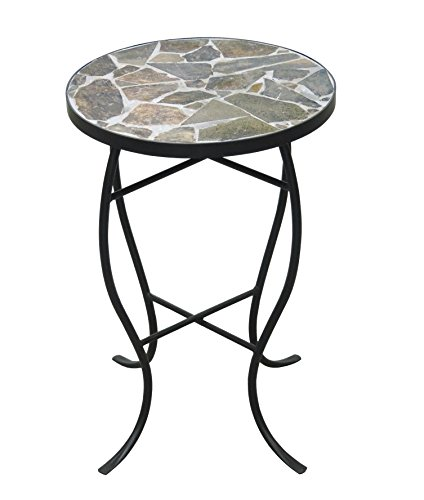 208 Fryar Design Mosaic Tile Round Top Table with Metal Base Slate