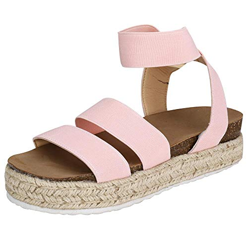 Women Casual Espadrille Slide On Platform Sandals Comfort Open Toe Ankle Elastic Strappy Studded Flatform Sandal Shoes (Pink,7.5 M US=EU 39)