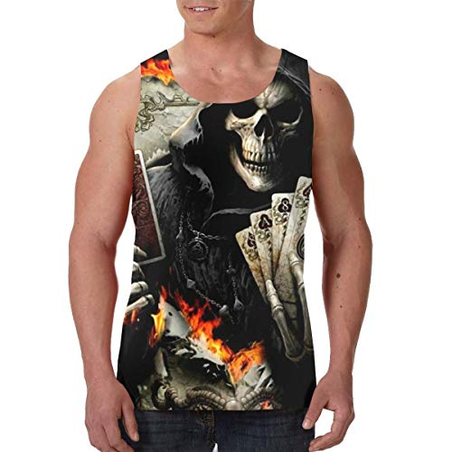 - Skull Death Playing Cards Mens Premium 3D Graphic Tank Top Cool Muscle Sleeveless Workout Shirts Tees Sauna Vest Black