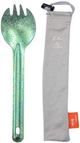 TiTo Bright Colorful Titanium Spork for Outdoor Camping Light Weight Titanium Spoon for Travel Home with Cloth Bag Sandblasting Spork