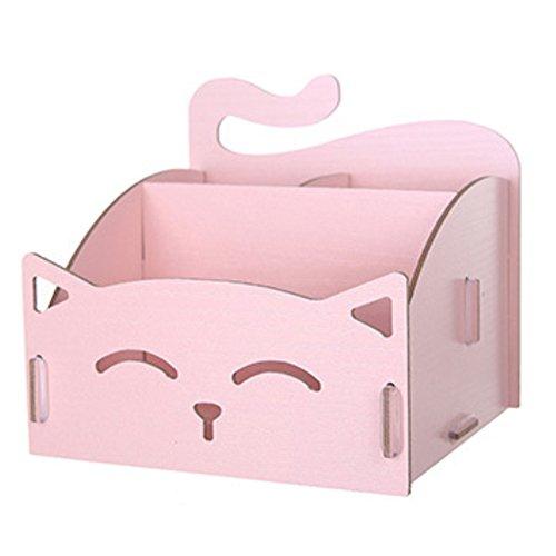 Caja de almacenaje–sukisuki Cute Cat hueca forma de madera DIY organizador de escritorio para oficina pluma joyas cosmeticos, rosa, talla unica
