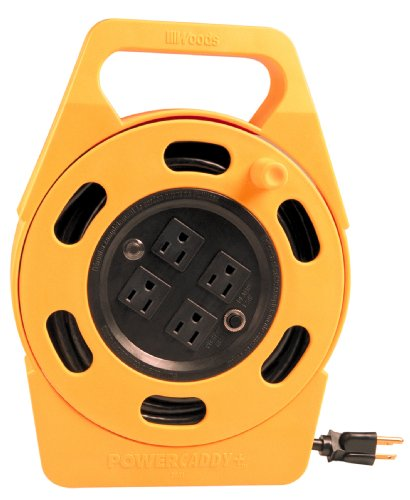 - Woods 2801 Extension Cord Reel With Four 3-Prong Power Outlets, Heavy Duty Retractable Cord, User Friendly, Made of Flame Resistant Materials, 10 AMP Circuit Breaker, 25 Foot, Yellow
