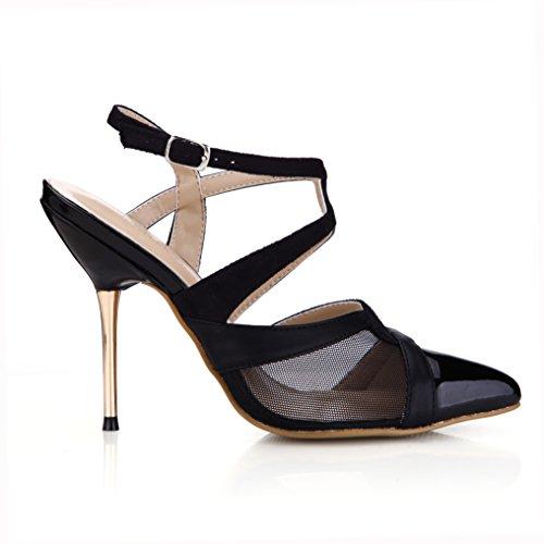Women Dress Sandals Dolphin Black Black Shoes 11CM Evening Casual Heel Fashion Patent Stiletto SM00044 High Pumps dx8YqwC8r