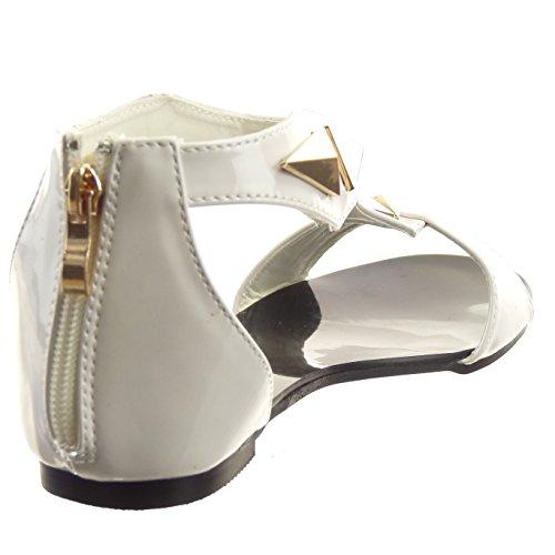 Sopily - Scarpe da Moda sandali Aperto cinturino alla caviglia donna lucide borchiati Zip Tacco a blocco 1 CM - Bianco