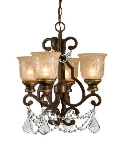Joshua Marshal JM-147881 240W Norwalk Umber Wrought Iron Hand Cut Crystal Mini Chandelier With 4 Light In Champagne Shades, 21