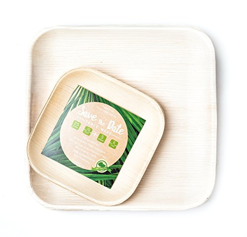 Disposable Bamboo, Areca Palm Leaf Square Plates 25 x 10