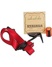 Ukulele Capo,4 in 1 Capo Shoulder Strap Sand Shaker Strings Set for Ukulele Instrument Accessory