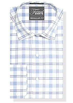 Formal Shirts Regular Fit Plaid Mens Dress Shirt or Tuxedo Shirt - 100% Luxe Microfiber, Spread Collar