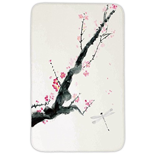 Rectangular Area Rug Mat Rug,Dragonfly,Branch of a Pink Cherry Blossom Sakura Tree Bud and A Dragonfly Dramatic Artisan,Pink Black,Home Decor Mat with Non Slip Backing ()