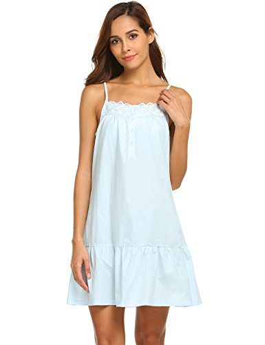 Ekouaer 100% Cotton Victorian Nightgowns Crochet Women Sleeveless Pajama Dress (Blue 3, XL) ()