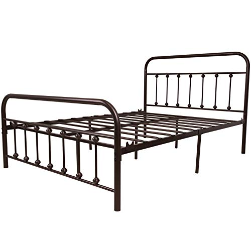 TEMMER Metal Bed Frame Full Size with Headboard and Stable Metal Slats Boxspring Replacement/Footboard Single Platform Mattress Base,Metal Tube and Antique Brown Baking Paint