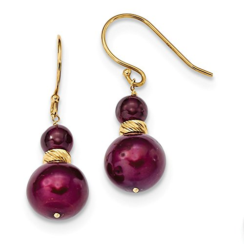 - 14k Yellow Gold Red Garnet 10mm Cranberry Freshwater Cultured Pearl Drop Dangle Chandelier Earrings Fine Jewelry Gifts For Women For Her