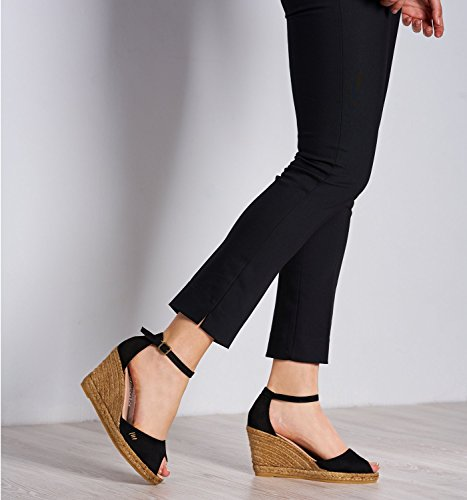 With Caprubi 3 Ankle Viscata Spain Open Negro Suede Made Toe Soft Espadrilles strap In Comfort inch Elegant Heel SwwCxqvAf