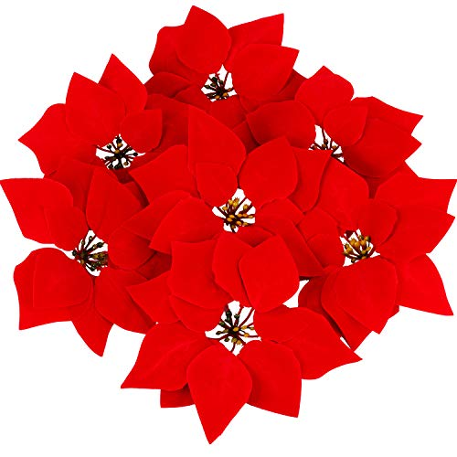 Tatuo 28 Pieces Artificial Christmas Flowers Red Poinsettia Tree Wreath Ornaments, 8 Inches