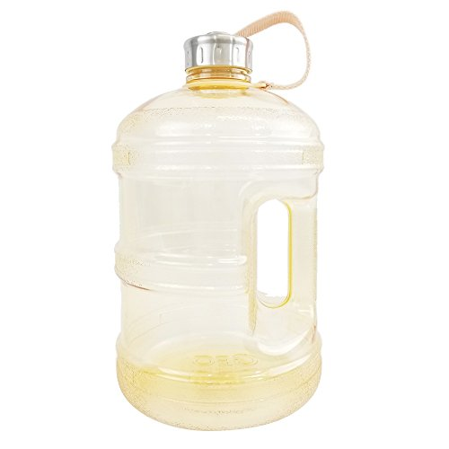 1 Gallon BPA FREE Reusable Plastic Drinking Water Bottle w/ Stainless Steel Cap - Yellow