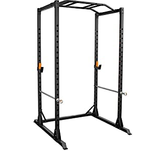 GRIND Fitness Alpha3000 Power Rack, Squat Rack with Barbell Holder, Silver Spotter Arm,2×2 Uprights, Textured Multi-Grip Pull Up Bar, Heavy Duty J-Cups