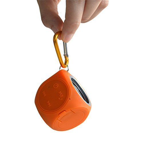 Keychain Speaker - CHUKCHI Portable 100% Waterproof (IP67) Mini Cube Loud Bluetooth 4.0 Speaker by Pantheon Wireless, With Built-in Mini Microphone for iPhone Android and Other Bluetooth Music Playing Device (Orange