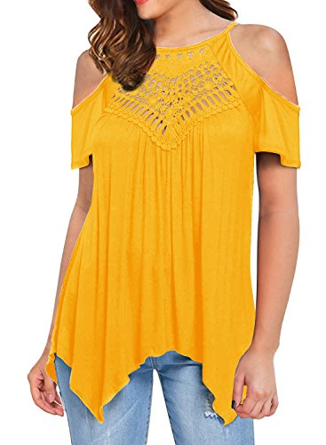 MIHOLL Women's Casual Tops Lace Off Shoulder Long Sleeve Loose Blouse Shirts (Small, A2- Yellow)