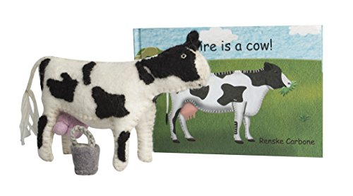 Papoose Toys Claire is a Cow! - Children's Book with Cow and Milk Bucket - Boxed (Felted Bucket)