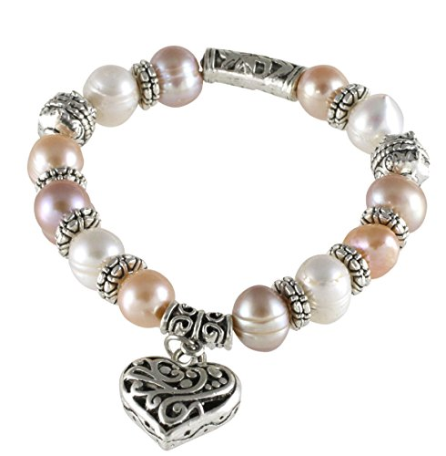 Charm Freshwater Bracelet Cultured Pearl (Multi-Color Cultured Pearl Stretch Heart Charm Bracelet (7.5