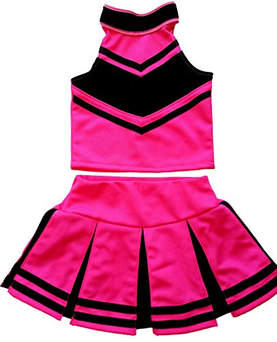Children/Girls' Cheerleader Cheerleading Uniform Costume Pink/Black (M / 5-8)]()