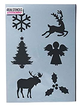Christmas Motifs Stencil Sheet | Decorating & Painting Art Craft Stencil - Reusable (Small - See Images) Ideal Stencils