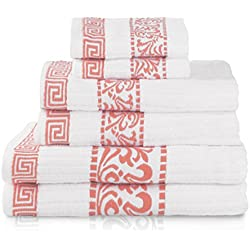 Superior Athens 100% Cotton, Soft, Extremely Absorbent, Beautiful 6 Piece Towel Set, Coral