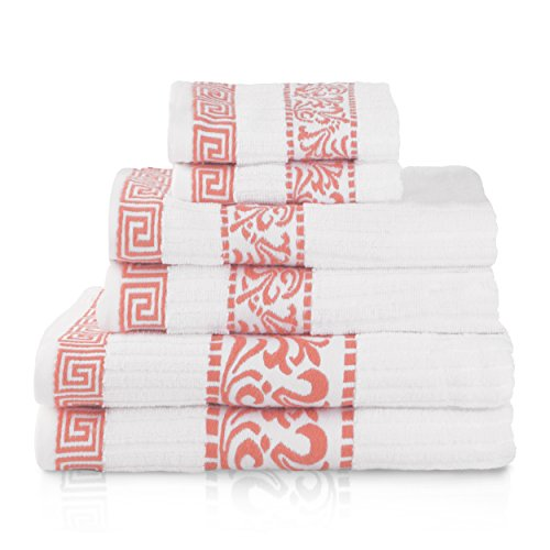 Superior Athens 100% Cotton, Soft, Extremely Absorbent, Beautiful 6 Piece Towel Set, Coral (Floral Bath Towels)