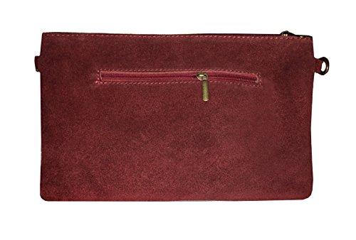 LAFINITY LT3118 Clutch Stern Tasche Handtasche Wildleder Leder Rot Stern Schwarz