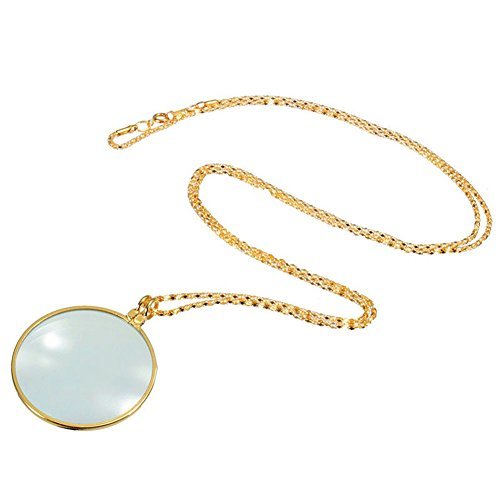 Gold 5x Magnifier Round Reading Magnifying Glass Lens Pendant Long Chain Necklace