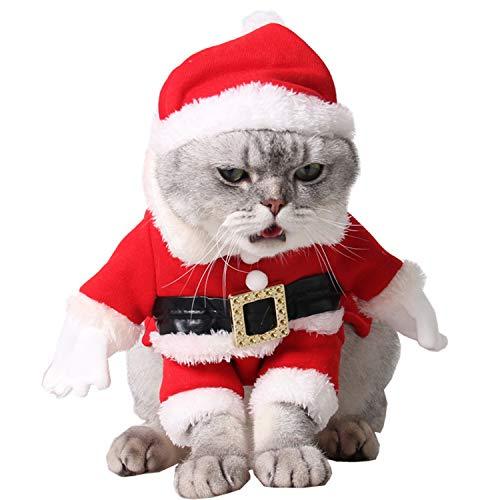 Legendog Weihnachts Katze Kleidung, Nette Weihnachtsmann-Hundekatze-Kleidung Weihnachts Haustier-Kleidung mit Santa Hut