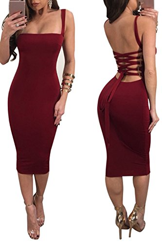 Bandage Summer Womens Club Midi Sexy Party Red Dresses up Back Backless Bluewolfsea Lace Bodycon FSq50p0w