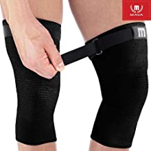 Mava Sports Knee Compression Sleeve Support with Adjustable Strap for Men and Women. Perfect for Powerlifting, Weightlifting, Running, Gym Workout, Squats and Pain Relief (All Black - Strap, Large)