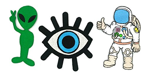 Peace005-SPACE - 3 Space Iron-on Applique Embroidered Patch (Eye Eyeball Tattoo, Astronaut - A journey to space and Alien Cartoon Logo)
