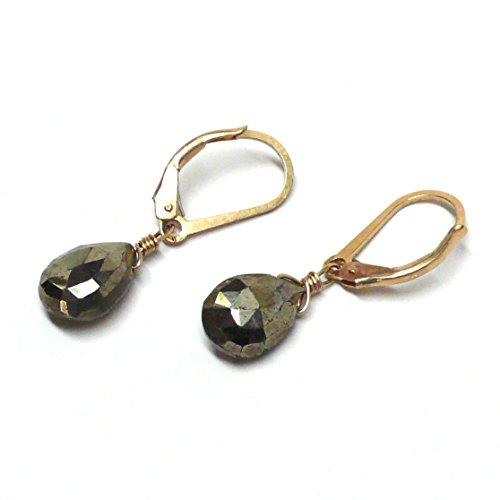 Pyrite Briolette Earrings (Pyrite Briolette Gold-Filled Lever Back Earrings)