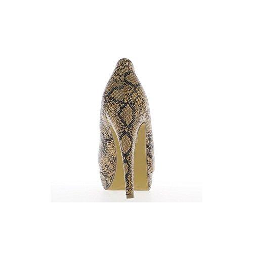 Escarpins camel plateforme à talons de 11,5cm
