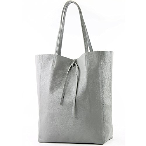 Pelle Shopper Grande anthrazitgrau Colore Borsa Grigio A Donna T163 In Tracolla 4anxqwS56