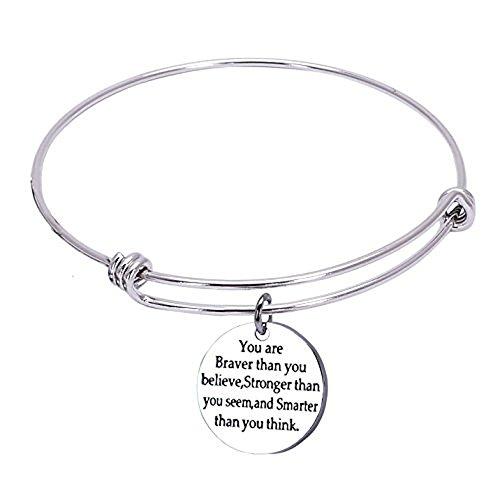 1MATCH You Are Braver than You Believe Stainless Steel Adjustable Bangle Bracelets,Cuff Bracelet