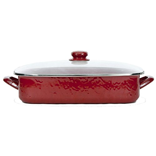 Enamelware - Red on Red Texture Pattern -16 x 12.5 x 4 Inch Lasagna Pan Set by Golden Rabbit