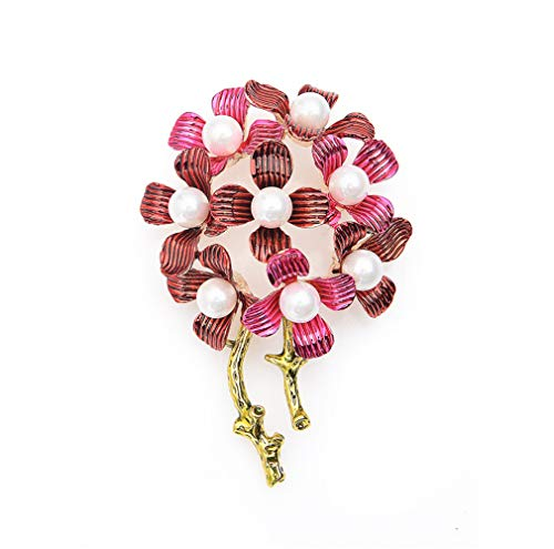 Simulated Pearl Pink Dandelion Flower Brooches Men Women's Weddings Banquet Brooch Pins Year's Gifts