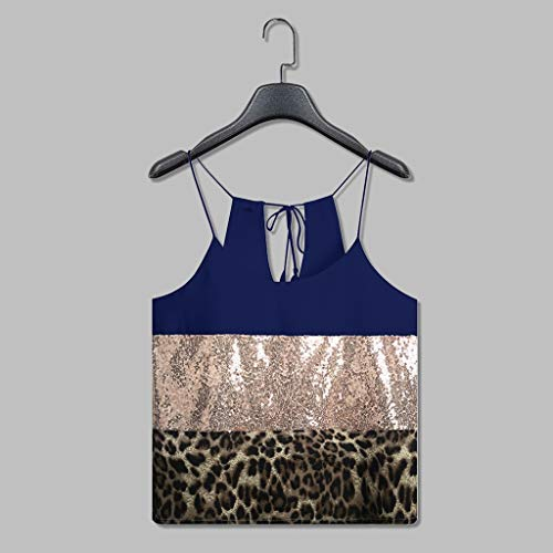 2019 Shirts Clearance ! Fashion Womens Pacthwork Leopard Print Sequin Sleeveless Vest Tee Casual -