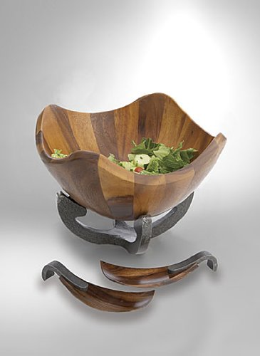 Nambe Anvil Scroll Wood Salad Bowl with Servers, Iron Finish Metal Alloy (Michaels Centerpieces Wood)