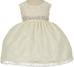 Flower Girl Dress Overlay Lace with Rhinestone Belt for Baby & Infant Ivory (Baby) L 11.32BT