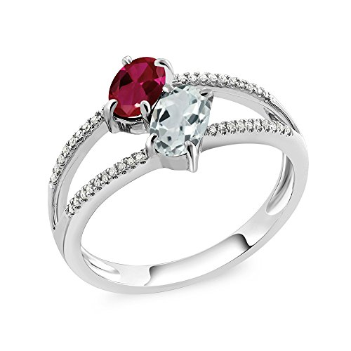 Gold Oval Aquamarine Ring (10K White Gold 1.21 Ct Oval Red Created Ruby Sky Blue Aquamarine Two Stone Ring (Available in size 5, 6, 7, 8, 9))