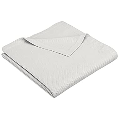 Pinzon Brushed Cotton Waffle Blanket - King, Soft Grey