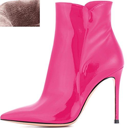 Elashe Dame Stiefeletten   Elashe Damer Ankelstøvler   Dame Stiefel Mit Absatz  10cm Kn?chelhohe Stiefel   Kvinders Støvler Krænger   10cm Kn Chelhohe Støvler?   Leder Optik Sko Pink Læder Optik Pink Sko pFfbz