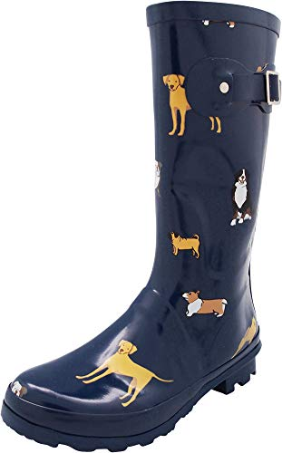 NORTY - Womens Hurricane Wellie Printed Look at Me Dog Mid-Calf Rain Boot, Blue 40711-8B(M) US (Dog Boots Rubber)