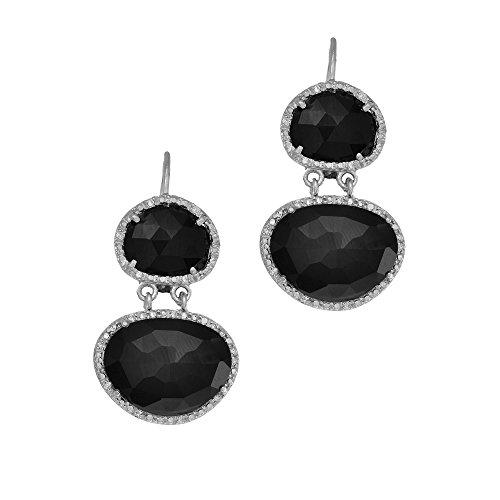 Argenté avec finition Rhodium 10.9x 9.2mm Onyx Noir Double Goutte Boucles d'oreilles pendantes dormeuses ztrimmed