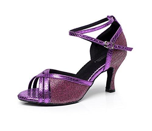 CFP Zapatillas de Danza de Tela Para Mujer Morado Morado 51epS