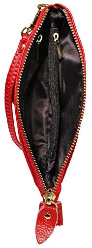 Main zip Sangle D'embrayage Portefeuille Haut Premium Poignée Cuir Unique Véritable Avec Black Kukubird Brillant AF4wq